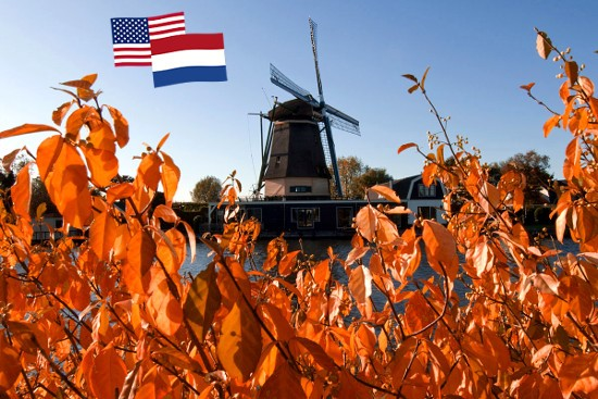 2014_Windmill in fall with both flags