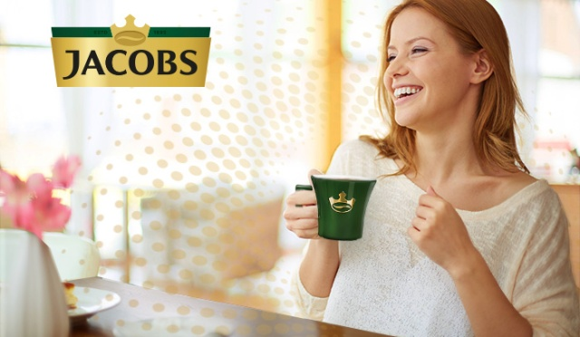 Jacobs-Banner-Woman-Laughing with cup